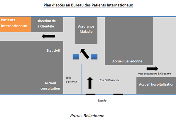 Plan d'accès au bureau des patients internationaux
